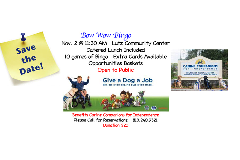 UPCOMING FUNDRAISER BINGO & LUNCHEON – CANINE COMPANIONS FOR INDEPENDENCE (CCI)