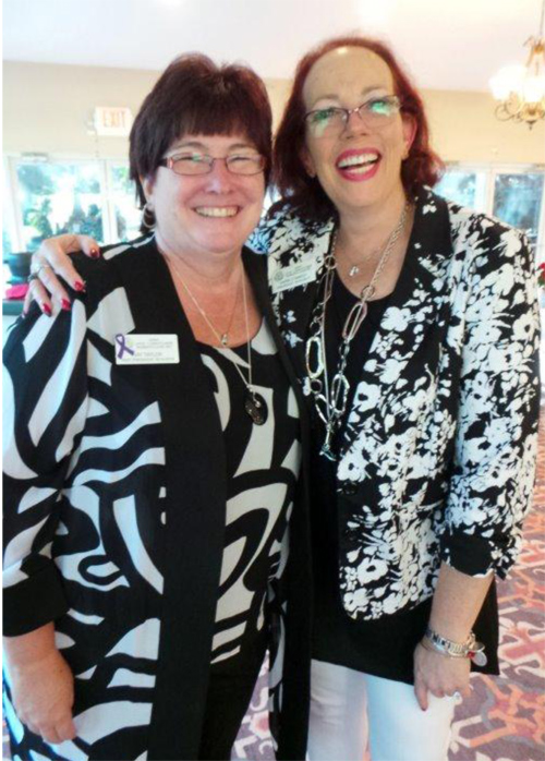 Volunteer of the Year Kay Taylor & new President Karin D'Amico