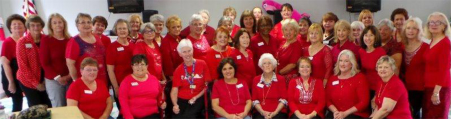 Club Members decked out in Heart Month Red