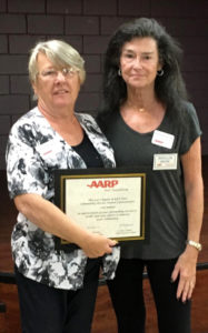 Photo: Recipient Ciel Birkett and Phyllis E. Bross, President, AARP Chapter #4764